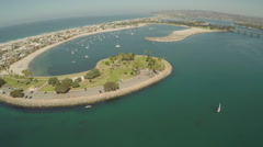 Aerial Shot Fly By Mariners Basin in Mission Bay - stock footage