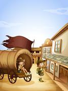 Two kids near the wagon Stock Illustration