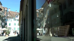 Stock Video Footage of Europe Switzerland city of Solothurn 014 mirror image of old town street