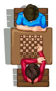 A topview of two people playing a boardgame Stock Illustration