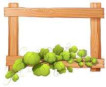 A wooden frame with a leafy plant - stock illustration
