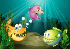 Three different kinds of fishes with big fangs under the sea Stock Illustration