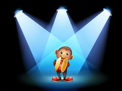 A monkey with cymbals at the stage Stock Illustration