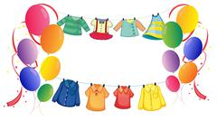 Hanging clothes with colorful balloons - stock illustration