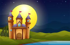 A castle in a full moon scenery Stock Illustration