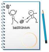 A notebook with an image of two people playing badminton - stock illustration