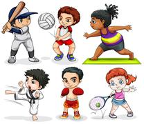 Stock Illustration of Kids engaging in different activities