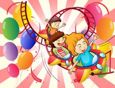 Kids enjoying the roller coaster ride - stock illustration
