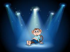Stock Illustration of A monkey having a stomach ache with spotlights