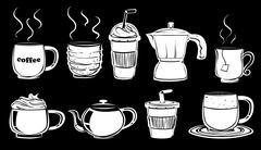 Different drinks - stock illustration