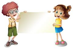 A young girl and a young boy holding an empty signboard - stock illustration