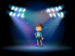 A stage with a young actor at the center Stock Illustration