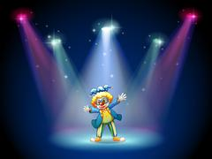 A man dressing up as a clown at the stage Stock Illustration