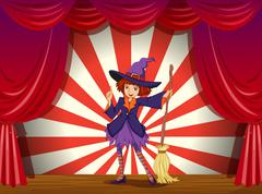 A stage with a witch and her flying broom Stock Illustration