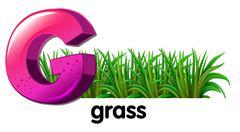 A letter G for grass - stock illustration