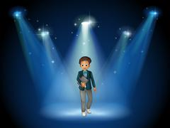 A man with a book at the center of the stage - stock illustration