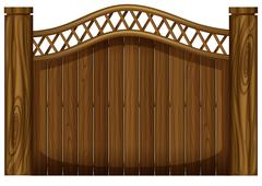 A tall wooden gate - stock illustration