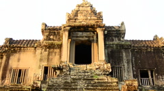 Stock Video Footage of Zoom Out of Grand Entrance to Abandon Temple  - Angkor Wat Temple Cambodia