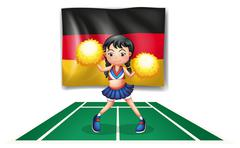 A cheerleader in front of the German flag Piirros