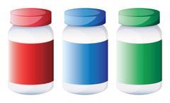 Colorful medical bottles Stock Illustration