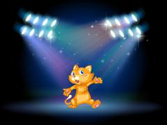 Stock Illustration of A stage with a playful cat