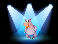 A hippopotamus standing at the stage with spotlights Stock Illustration