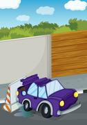 A violet car bumping the wall Stock Illustration