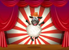 A stage with a sheep jumping at the center Stock Illustration