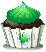 Stock Illustration of A cupcake with a green icing