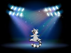 A lemur in the middle of the stage Stock Illustration