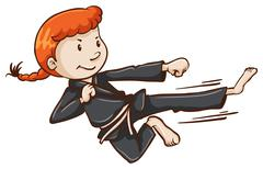 Stock Illustration of A simple sketch of a girl doing martial arts