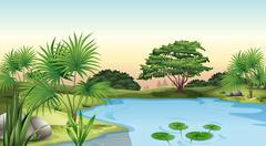 Green plants surrounding the pond - stock illustration