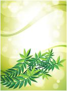 A green stationery with leafy plant Stock Illustration