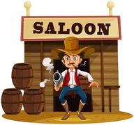 A man holding a gun outside the saloon bar - stock illustration