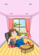 A fat young man in front of a table full of foods Stock Illustration