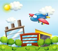 A blue airplane above the tall buildings Stock Illustration