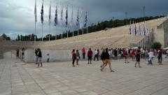 People near Panathenaic Stadium in Athens, Greece Stock Footage
