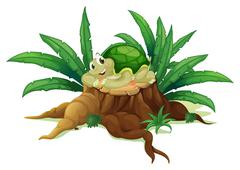 A turtle above a trunk - stock illustration