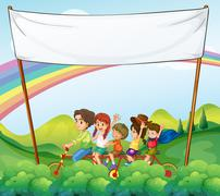 A group of kids under the empty signage - stock illustration