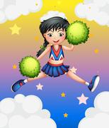 A cheerleader jumping with her green pompoms Piirros