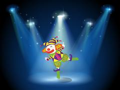 A stage with a playful clown - stock illustration