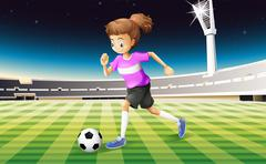 A girl at the field playing football Piirros