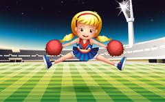 Stock Illustration of A stadium with an energetic cheerdancer