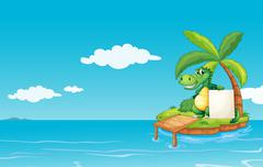 An alligator holding an empty banner Stock Illustration