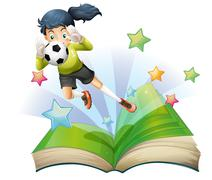A book with an image of a female football player Piirros
