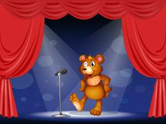 A stage with a bear performing Stock Illustration