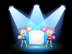 Stock Illustration of Two young cheerdancers at the stage with an empty banner
