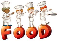 Food artwork with chefs Piirros