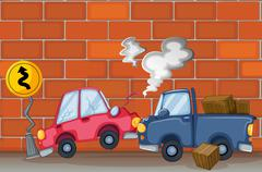 Stock Illustration of A car accident near the wall