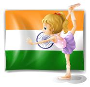 Stock Illustration of A ballet dancer performing in front of the Tajikistan flag